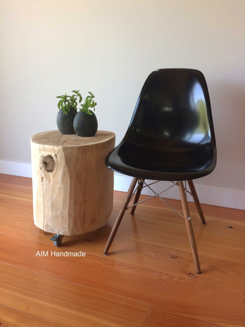 Salvaged Cedar Log Stump On Casters Log Furniture End Table Etsy