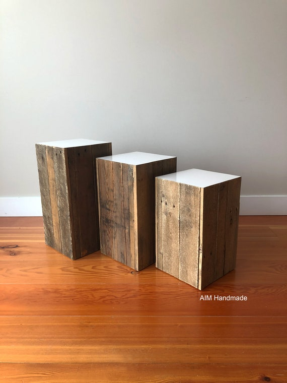 """Barn Wood End Table, Side Table, Rustic timbers 9"""" square in three heights, Art plinths, End tables, Bedside tables, Handmade in BC, Canada"""