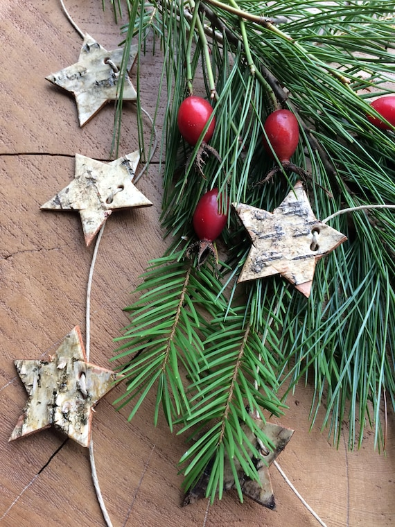 Birch star garland, hand cut and strung on hemp cord, Modern Rustic decor handmade in BC, Canada