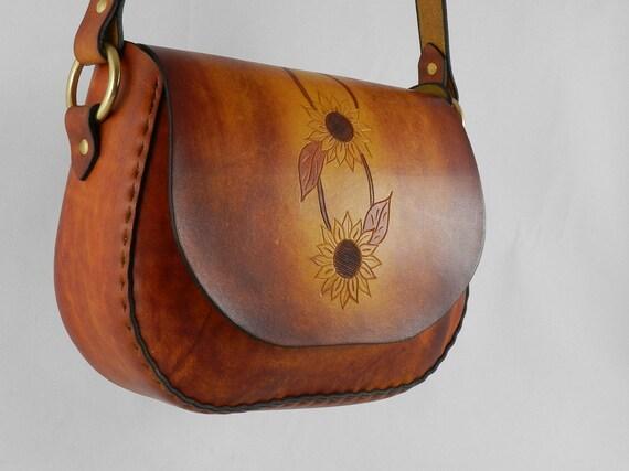 5e0d8c76479 Handmade Latigo Leather Shoulder Crossbody Bag with Tooled   Etsy