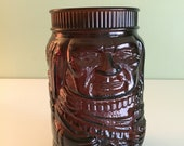 Cigar Store Indian Chief Molded Brown Glass Jar (Missing Lid) Vintage 1960s Humidor or Cookie Jar