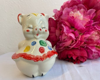 Cute Piggy Bank Ceramic Hand Painted Vintage 1940s 1950s Money Savings Educational Tool Toy