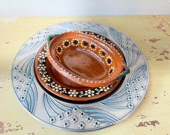 Rustic Mexican Serving Bowl and Plate Hand Painted Red Ware Earthenware Ceramics Vintage 1970s Ethnic Table