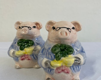 Fancy Pigs in Suits Porcelain Figural Salt and Pepper Shaker Set Colorful Vintage 1980s Kitchy Kitchen Table Ware