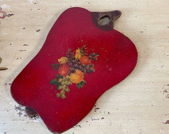 Red Apple Carved Wooden Display Board with Fruit Decal Vintage 1940s Rustic Farmhouse Americana Decor