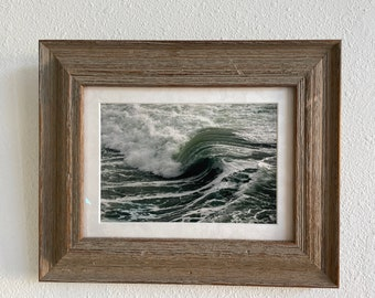 Ocean Wave Original Photo Framed in Driftwood Wooden Frame Beachhouse Wall Art Decor 14 X 11 Inch