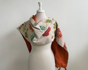 Natural, Orange, Beet Red Embroidered Long Runner Cotton Blend Autumn Colors Vintage 90s Table Linens