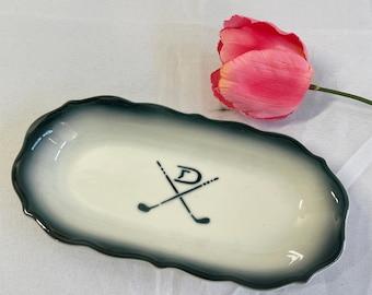 Syracuse China D Letter Monogram Golf Club Stencil Oblong Ceramic Dish Vintage 1940s 1950s Restaurant Ware