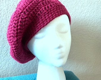 Women s Handmade Crocheted Raspberry Beret Hat a404da09e46