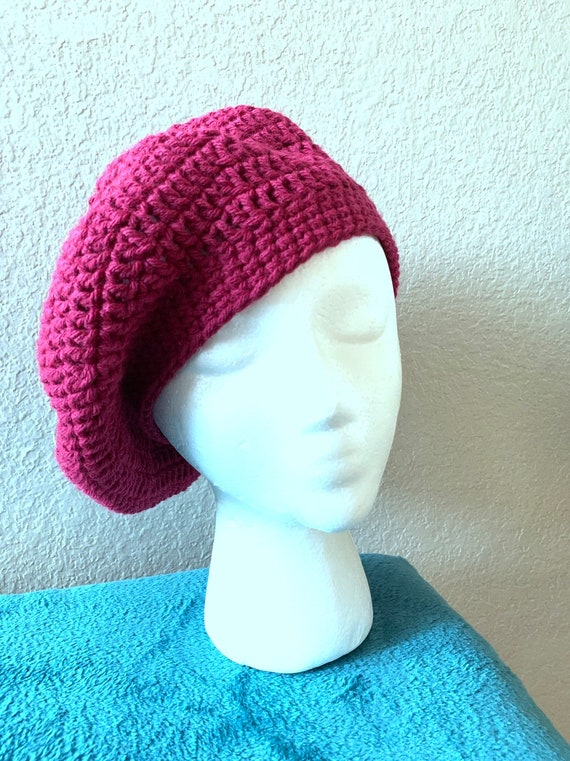 568a6f4aef Women s Handmade Crocheted Raspberry Beret Hat Tribute to