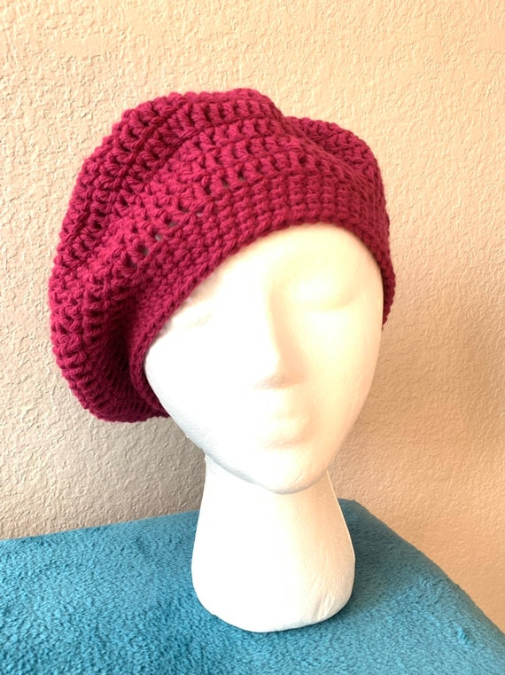 Women/'s Handmade Crochet Beret Hat