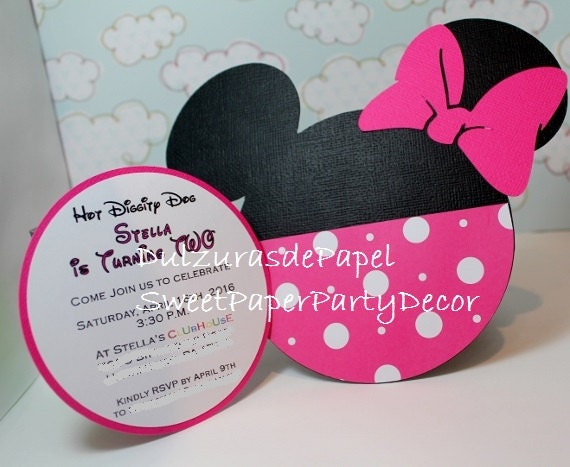 Handmade Minnie Mouse Invitations For Birthdays Baby Showers Etsy