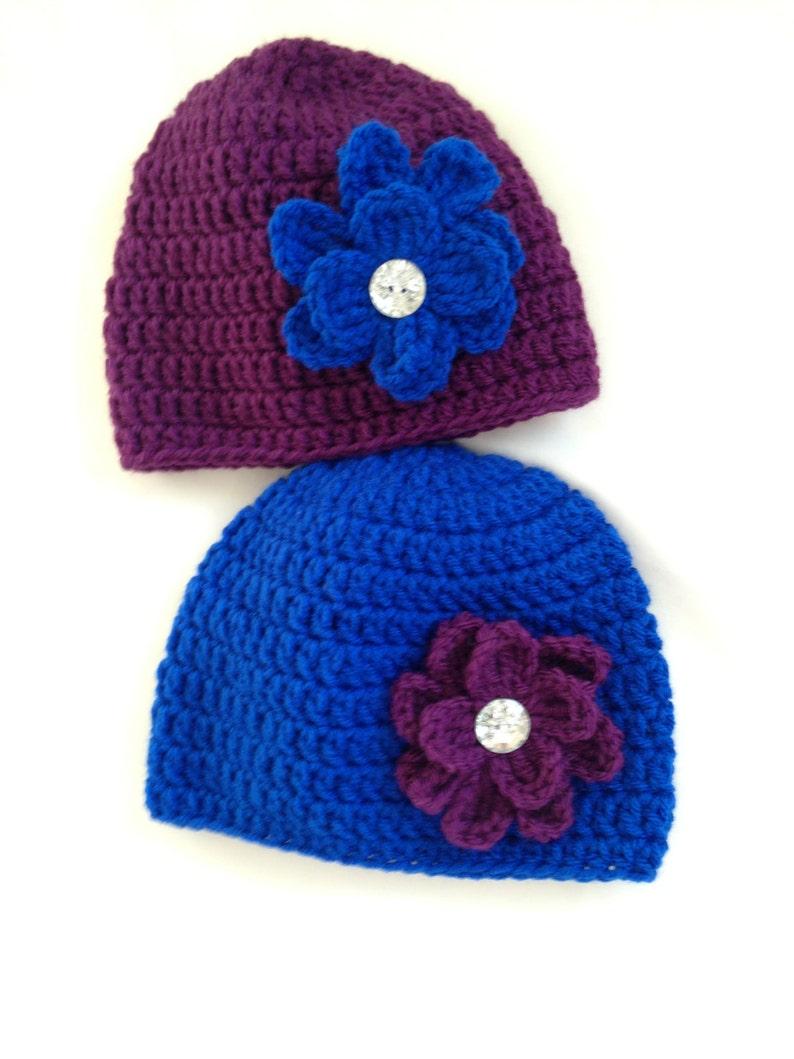 327f7c5b Crochet Beanie Hat, Purple Beanie Hat, Blue Beanie Hat, Baby Beanie Hat,  Toddler Hats, Child Beanie Hat, Rhinestone Hat, Spring Hats