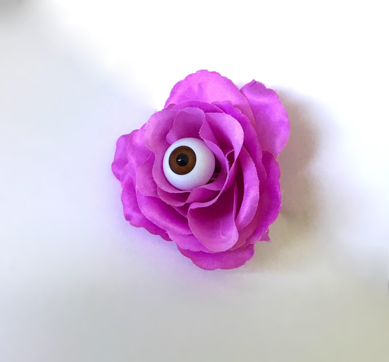 Eyeball Rose Hair Flower Clippurple Pinup Eyeball Hair Etsy