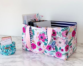 Floral Home Decor. Bible Journal Supply Storage Tote. Planner Accessory Organization. Gift for Her Under 50.
