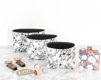 Black and White Floral Desk Organizer SET. Teacher Christmas Gift. Monochrome Storage Bucket. Bible Journal Accessory. Nesting Storage Bin.