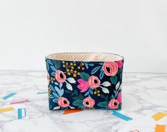 Navy Floral Home Decor. Gift Basket for Birthday Under 20. Travelers Notebook Storage. Sticker Organization Bin. Springtime Home Decor.