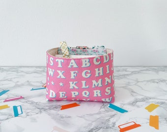 Retro Alpha Home Decor. Gift Basket for Birthday Under 20. Travelers Notebook Storage. Sticker Organization Bin. Springtime Home Decor.