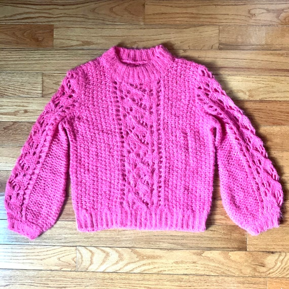 Mohair Pink Bell Sleeve Sweater