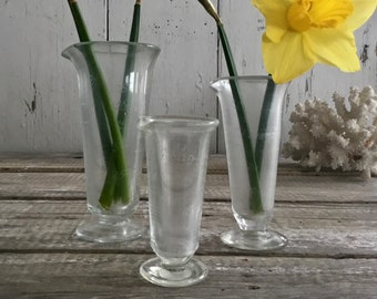 Etched Glass Apothecary Beakers, Chemists Measures, Set of Three