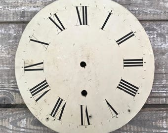 Antique Wood Clock Dial, 19th Century Painted Clock Face