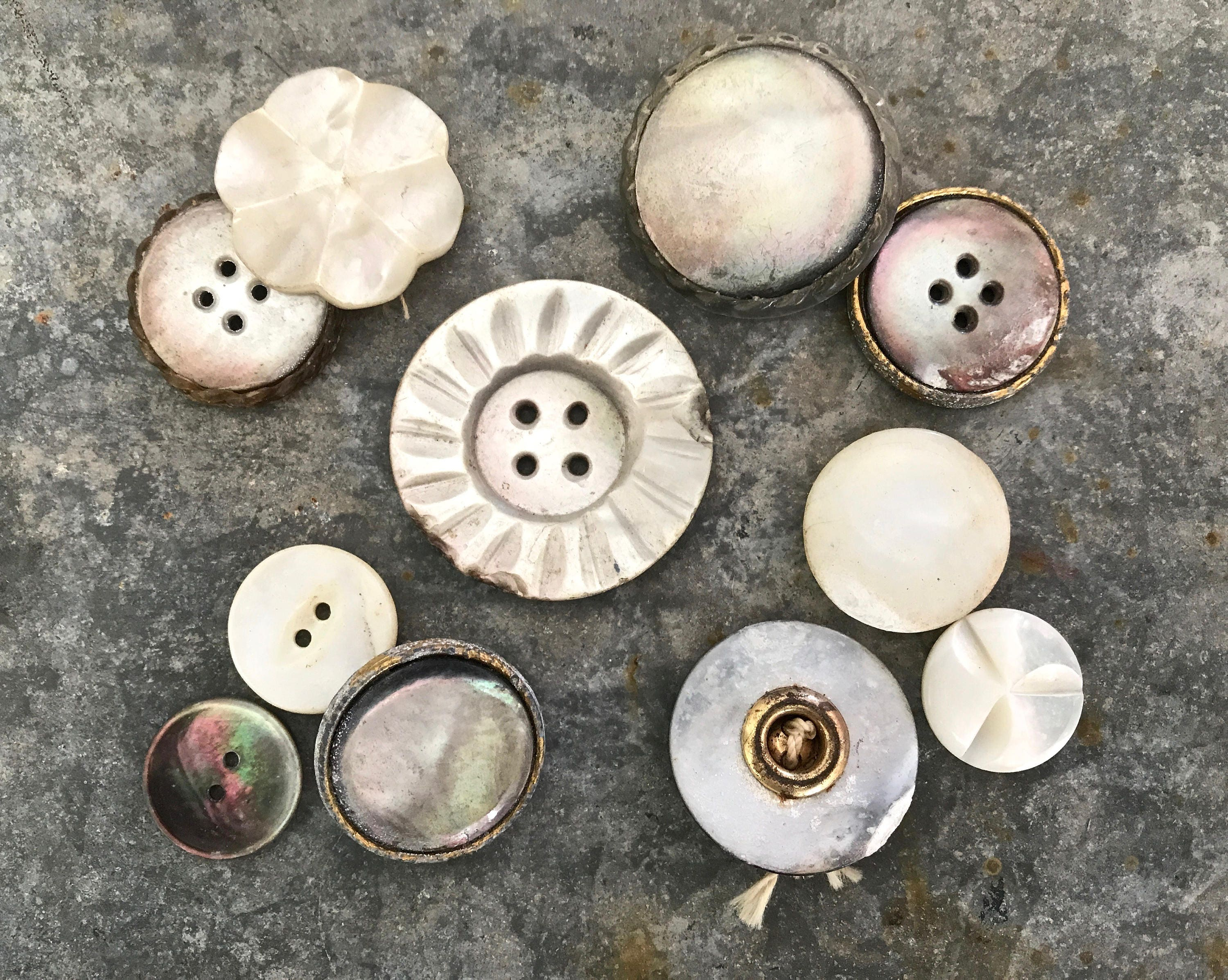 Vintage Mother Of Pearl Buttons Crafting Supplies Victorian
