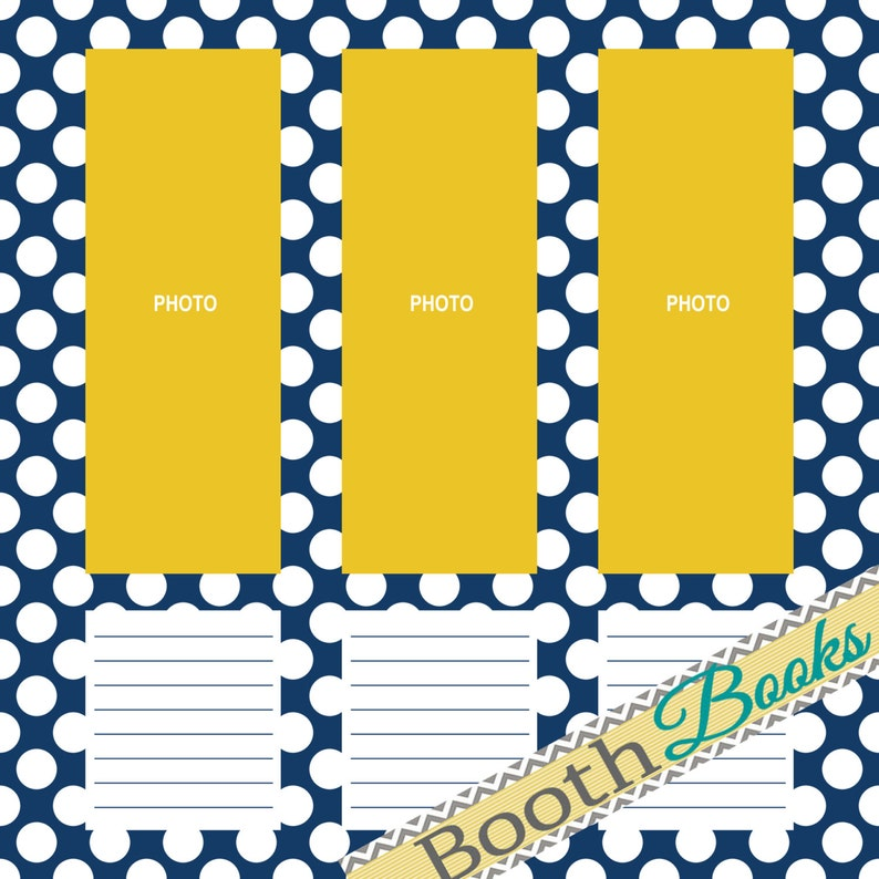 Navy Blue Yellow DOWNLOAD 12x12 Photo Booth Guest Book Scrapbook Page