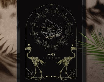 Natal Chart Design, Black Bird Skeleton, Bone Series, Birth Chart Drawing, Personalized Astrology Gift, Zodiac Poster, Birthday Gift