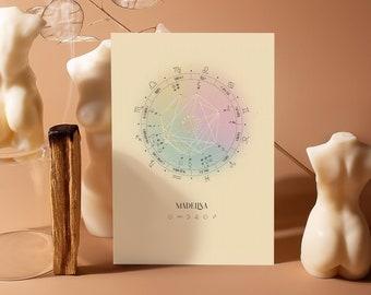 Star, 8x10, Natal Chart Design, Luminaries, Birth Chart Drawing, Personalized Astrology Gift, Zodiac Poster, Birthday Gift, Horoscope