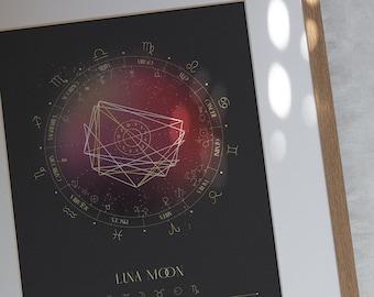 Sturgeon Moon, Natal Chart Design, Luminaries, Birth Chart Drawing, Personalized Astrology Gift, Zodiac Poster, Birthday Gift