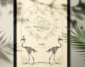 Natal Chart Design, Cream Bird Skeleton, Bone Series, Birth Chart Drawing, Personalized Astrology Gift, Zodiac Poster, Birthday Gift
