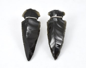 Sterling Silver and Obsidian earrings