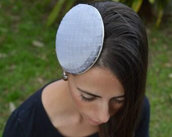 Fascinator satin and netting , hair comb fascinator, round fascinator