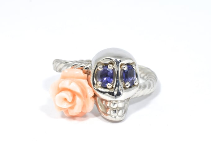 Sterling Silver, Iolite and Coral ring