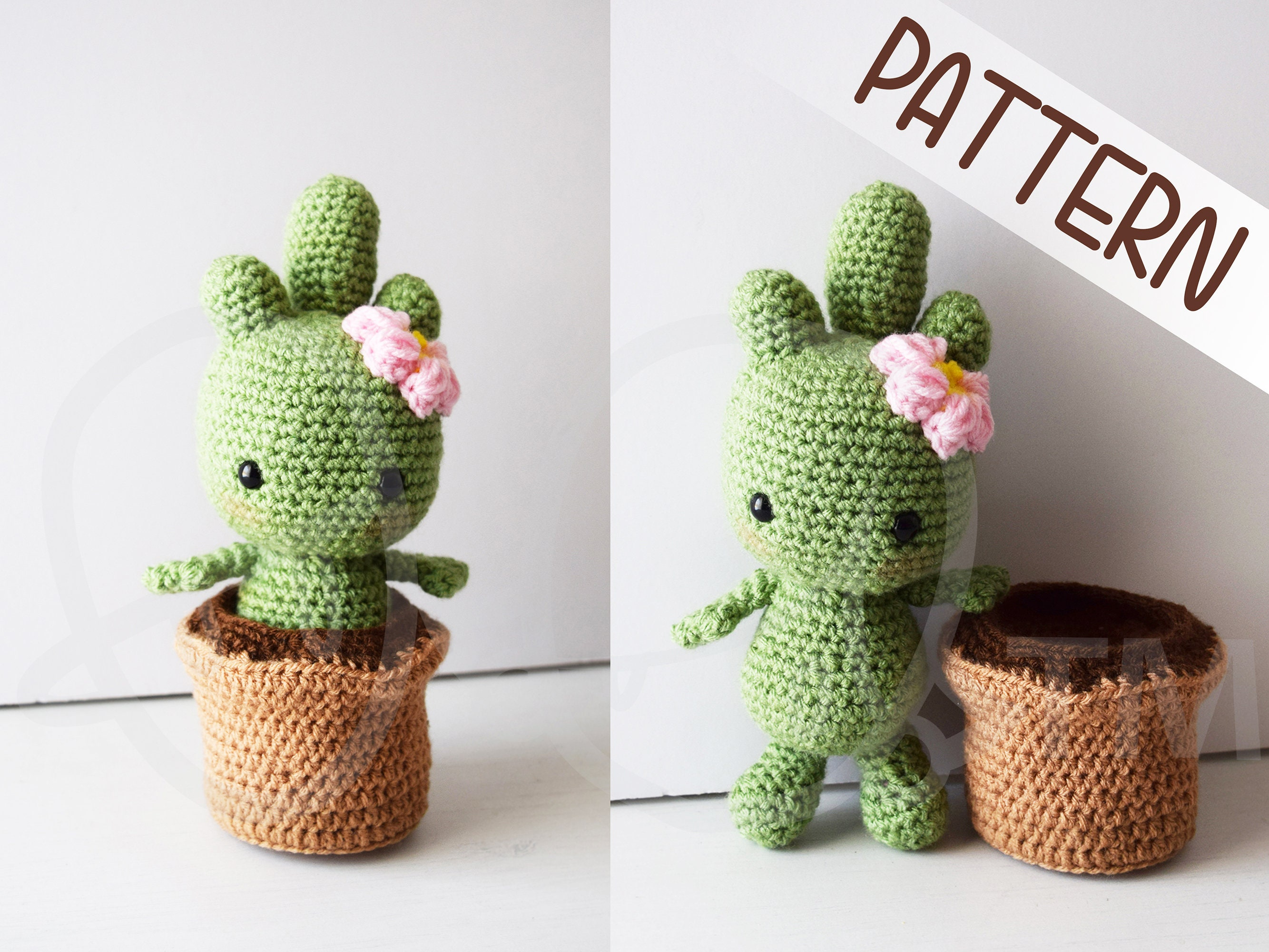 Cactalina cactus crochet PATTERN removable pot crochet   Etsy
