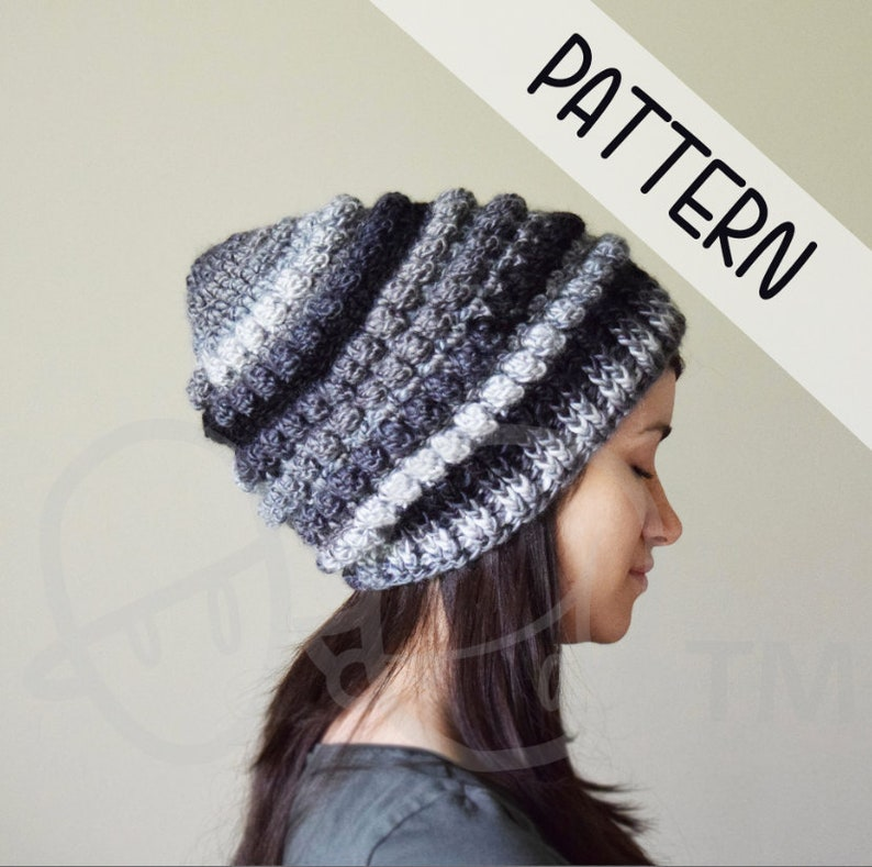 91001c13236 PATTERN Chunky bubble crochet hat slouchy beanie winter hat