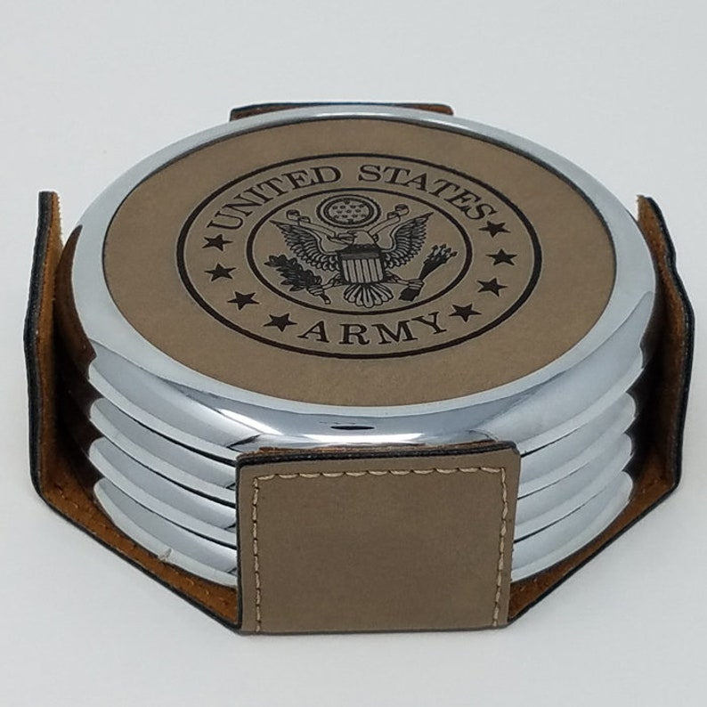 Custom Military retirement gift Personalized veterans coaster set with  holder air force gifts bar coaster gifts veterans coast guard marine