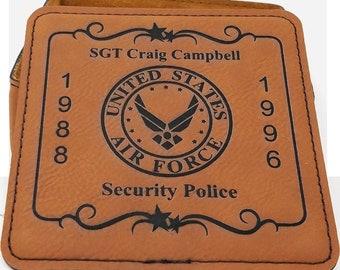 Personalized Home Bar Coaster Set Military Veteran Retirement Gift Beer Mug, Coffee Mug, Wine Glass Coaster Set