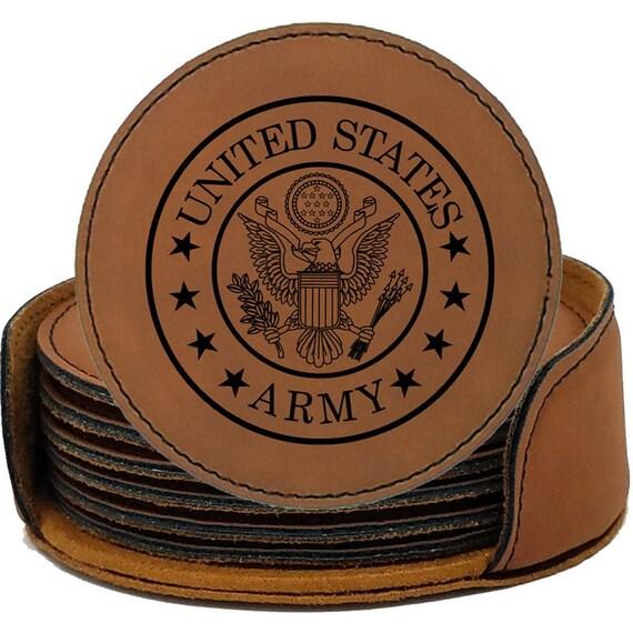 Military Drink Coaster Gift SET USA Marine Army Coast Navy Air Veteran Home Bar