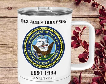 Personalized military Gift retirement Vacuum Insulated Stainless Steel coffee mug Gift veterans day gift air force custom navy army marine