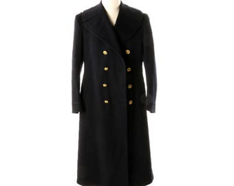 WW2 Navy Bridge Coat, Vintage Military Wool Coat, 1940s Uniform Coat Double Breasted, WWII Navy Coat Union Made, World War 2, Naval Officer