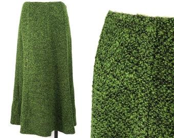 """Vert mousse Midi jupe 29"""" de taille, Midi Vintage trompette Boho Midi jupe, Secrétaire en vert jupe, jupe de longueur de genou de Boucle de Tweed,"""
