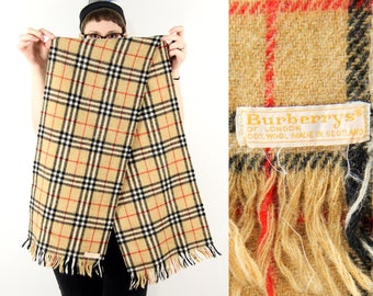 Vintage Burberrys Wool Scarf , 1960s Burberry Scarf, Vintage Burberry Plaid Scarf, Nova Check, 60s Mens Winter Scarf, Burberrys Check Scarf