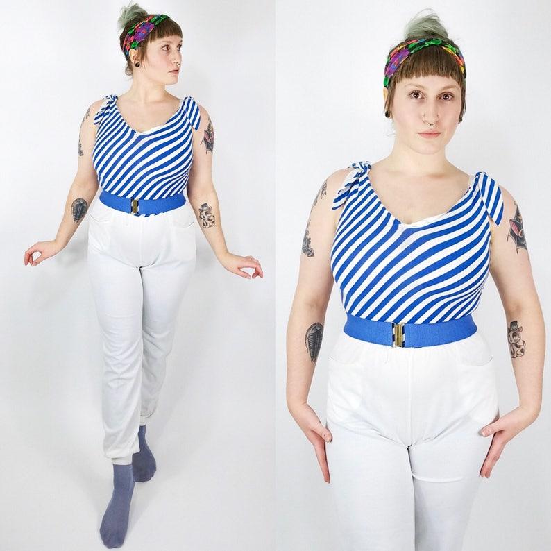 8f7c6ce57b27 White Blue Jumpsuit Vintage Womens Jumpsuit Tank Top