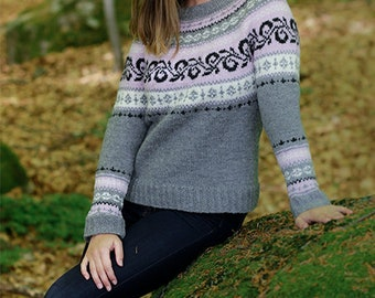 dc58d88a68c67d Women s hand knit sweater Knitted jumper with round yoke and Norwegian  pattern Handmade Sweater Merino wool sweater