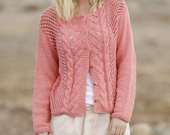 20b527aabf6a Women s Hand knit cotton Jacket Hand Knit Cardigan hand knit summer cardigan  Many colors available