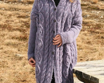 Women's Cable Knit Coat, Knitted Wool Cardigan, Many colors available