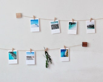Ash Wooden Photo Wall Display With Mini Clothespins Vertical Horizontal Picture Polaroid Hanging Twine Holder