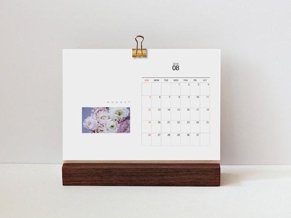 Desk Calendar A5 Size Clip Board Walnut Wooden Holder For Etsy