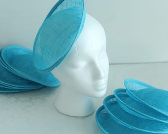Turquoise  Round Sinamay Hat Base for DIY Fascinator 20cm ( 7.75 inches wide )